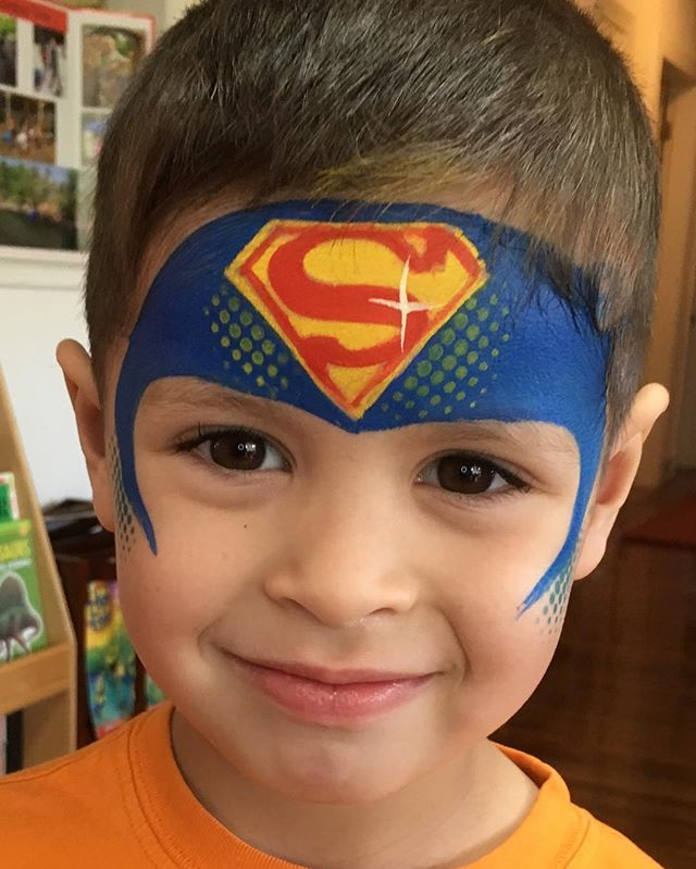 Superman Face Painting