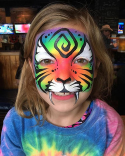 Neon Rainbow Tiger Face Paint