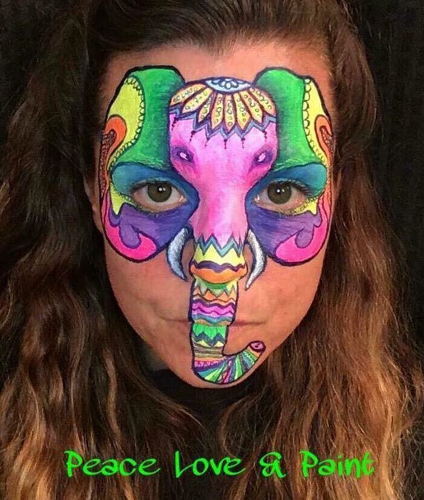 Neon Elephant face painting