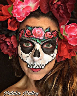 Skull and Roses Face Paint