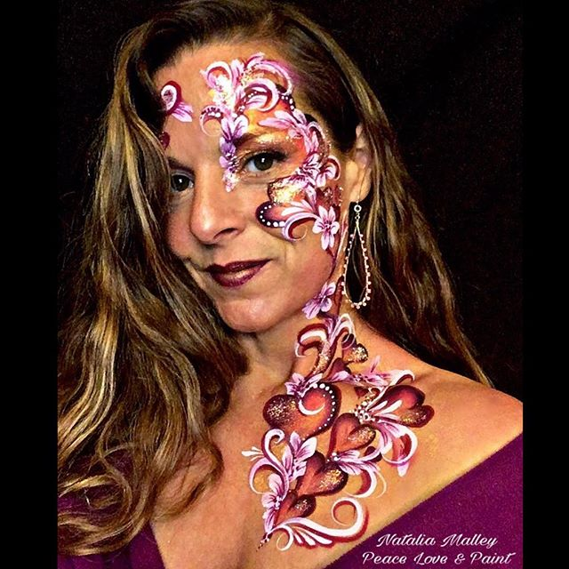Valentine's Day face and body art