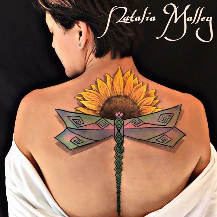Sunflower & Dragonfly Body Painting