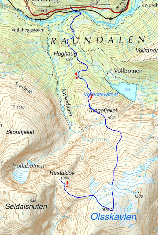 Raundalsryggen på ski. Ruta ned fra Olsskavlen.