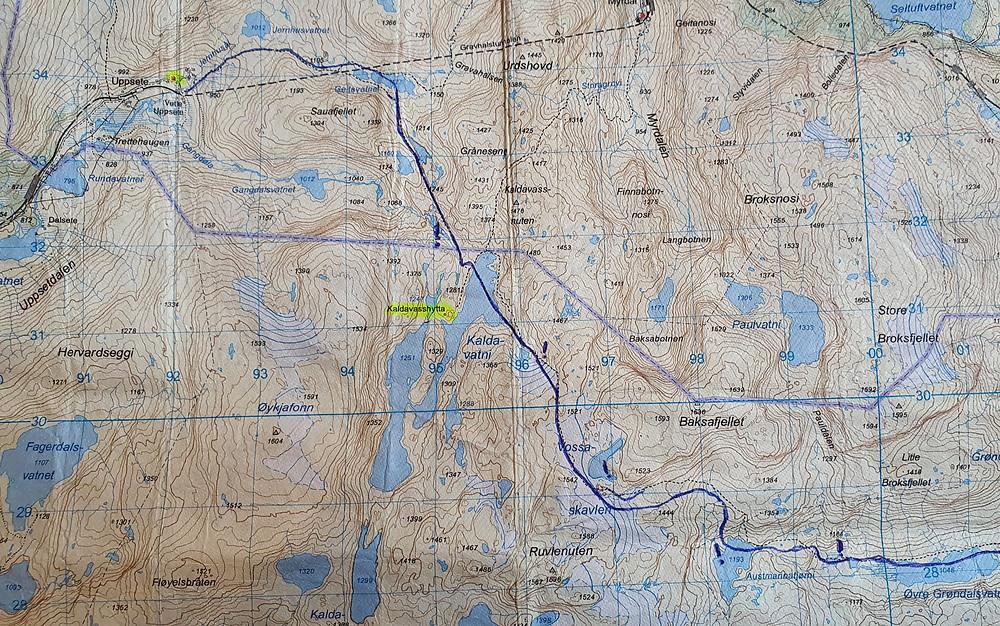 Kartsnitt med inntegnet rute.