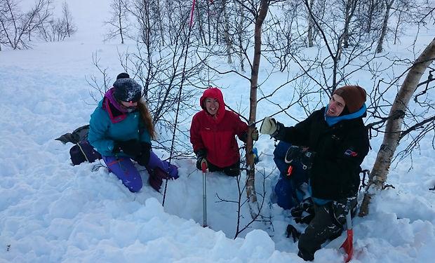 Practicing avalanche rescue techniques.