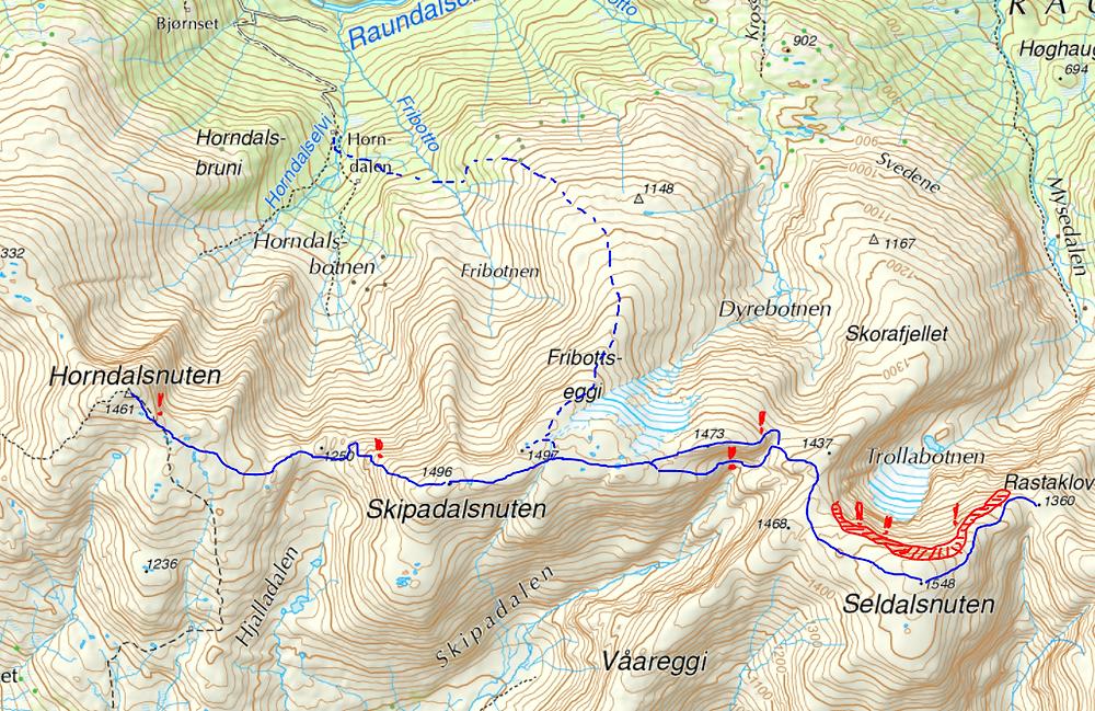Ruta over Raundalsryggen fra Horndalsnuten til Seldalsnuten.