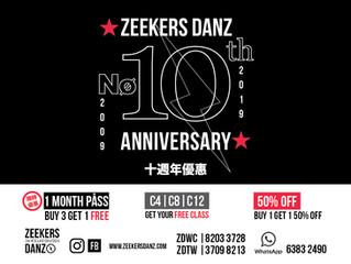 ZEEKERS DANZ舞蹈館成立10週年優惠