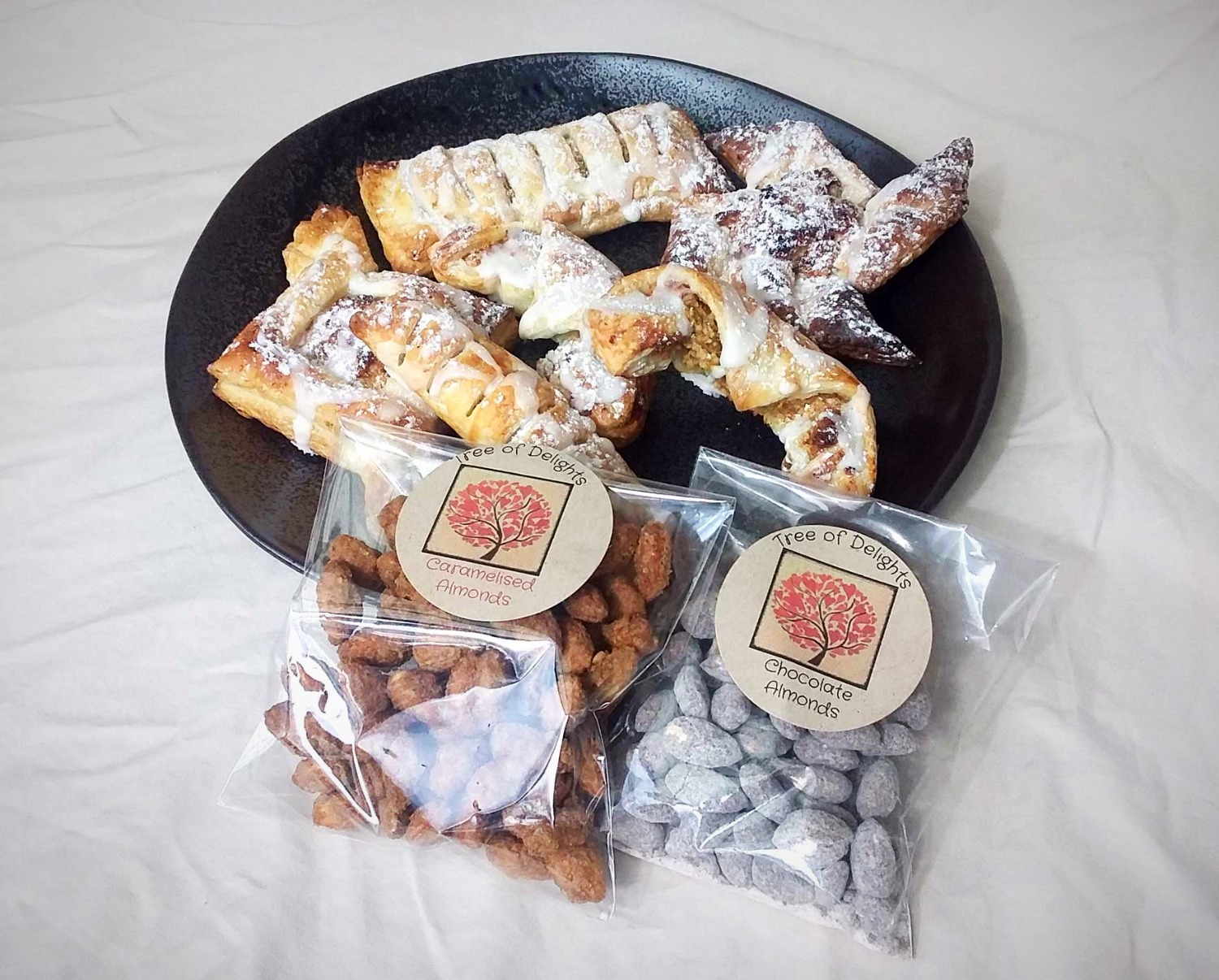 Pastries and almonds