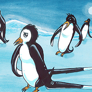 Some of the penguins would make fun of Awk's extra long flippers.