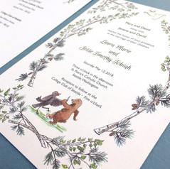 Detail of Crow Bear Wedding Invitaiton