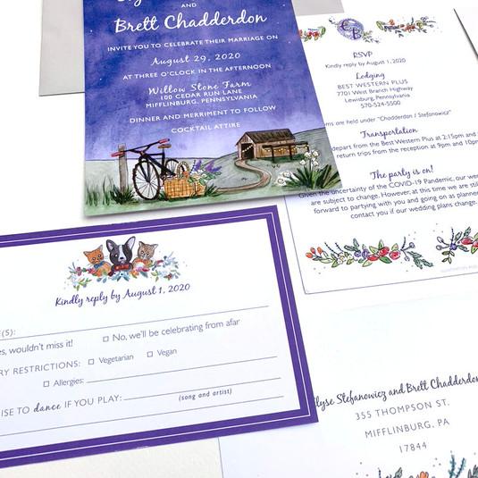 A Fun Countryside Wedding Invitation Suite