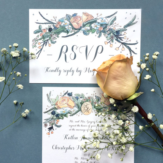 Peach and Sage Wedding Invitation Suite
