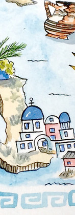 Santorini Detail from Summer in Greece Map