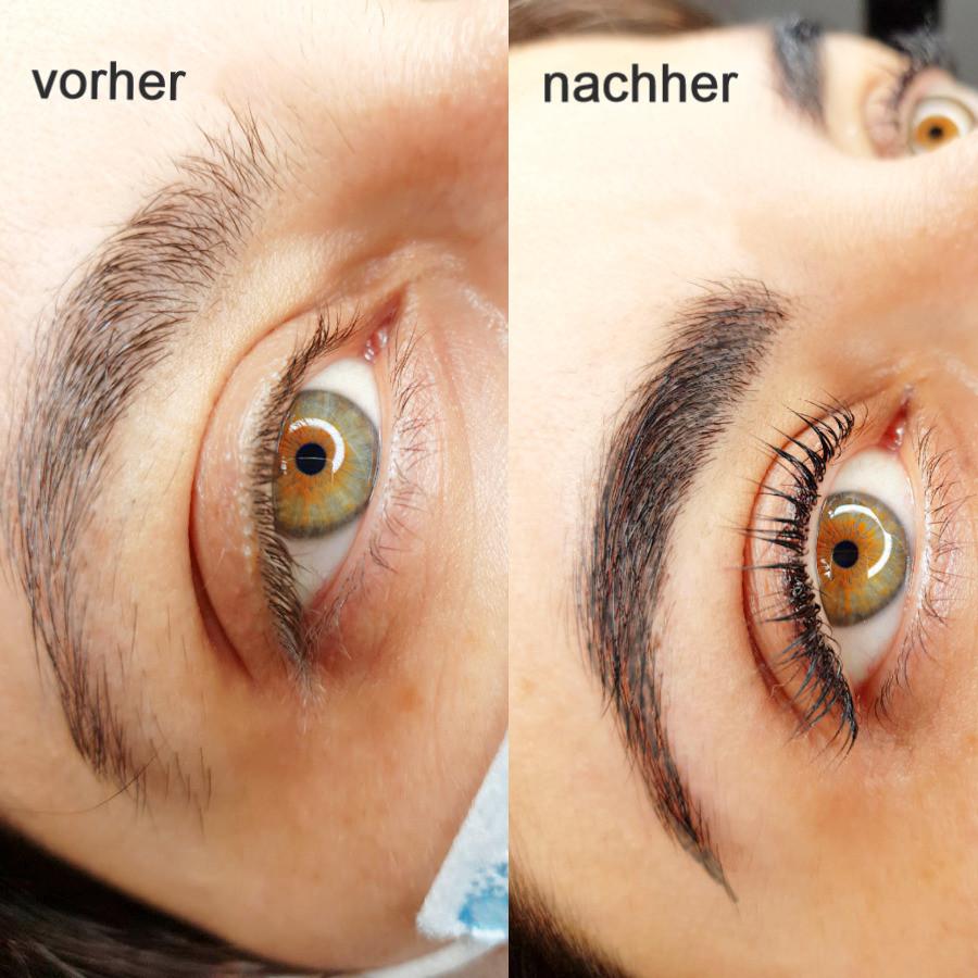 Wimpernlifting und Augenbrauenbrauen färben