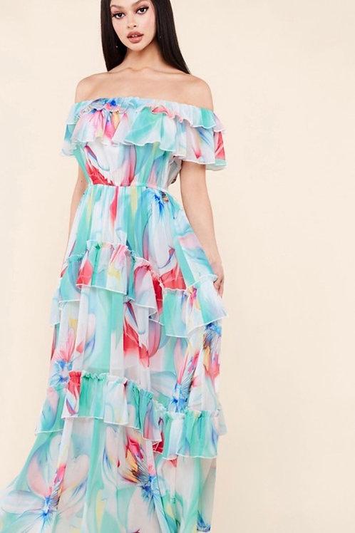 """""""Sherbet"""" Ruffle Maxi Dress"""