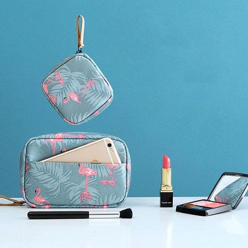 """Pink Flamingo"" Cosmetic Case Set"