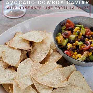 Avocado Cowboy Caviar with Homemade Lime Tortilla Chips