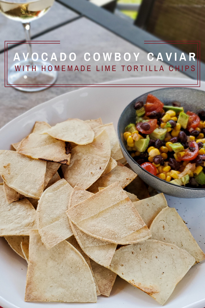 Avocado Cowboy Caviar with Homemade Lime Tortilla Chips