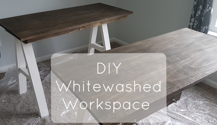 DIY: Whitewashed & Antiqued Workspace