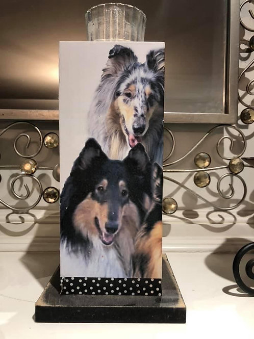 Collie candle holder