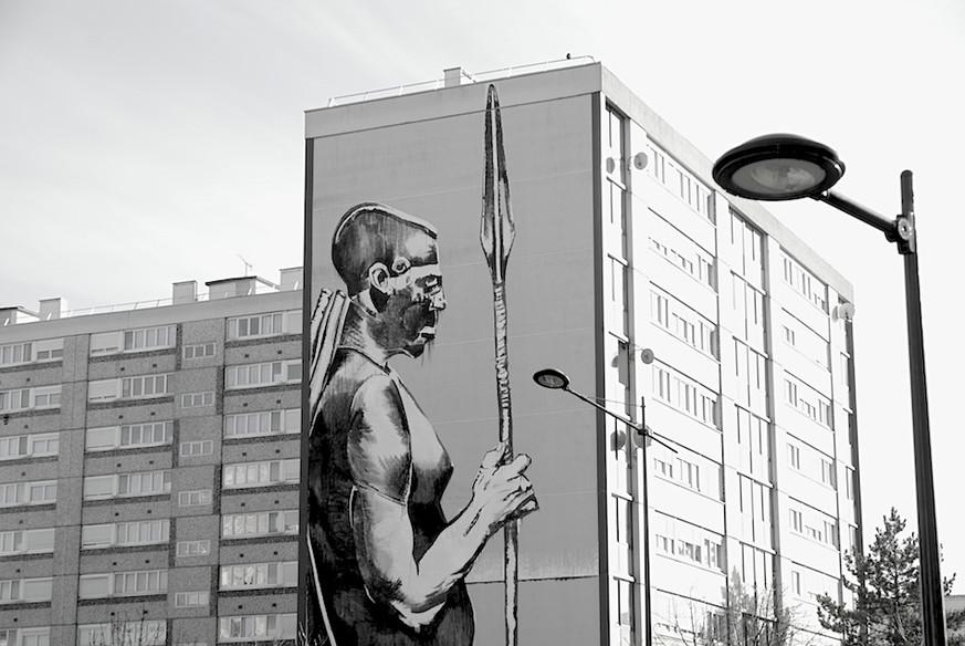 Kouka Ntadi, Street Art intervention