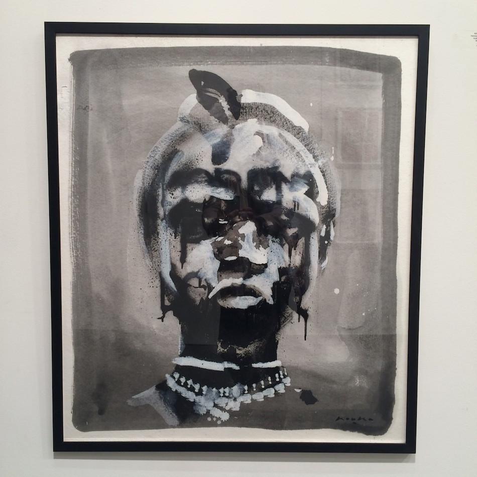 """Kouka Ntadi, """"Femme Pomme"""" portrait (Huile sur papier)"""