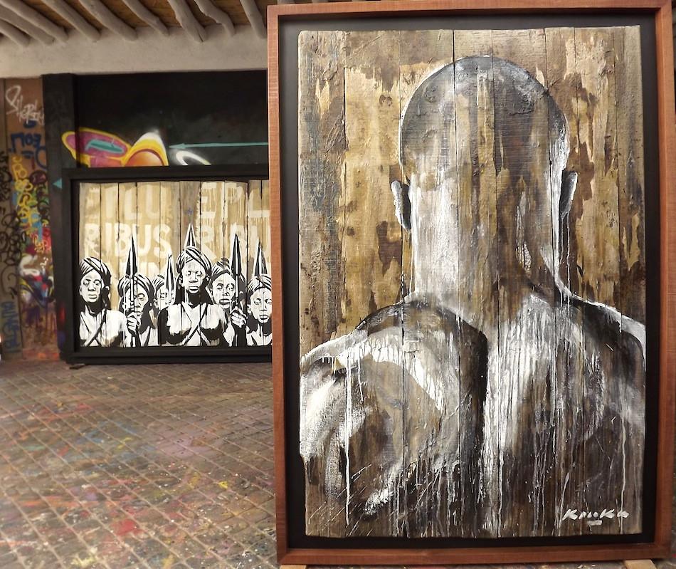 "Kouka Ntadi, ""Guerriers Bantu - Dos au Mur"""