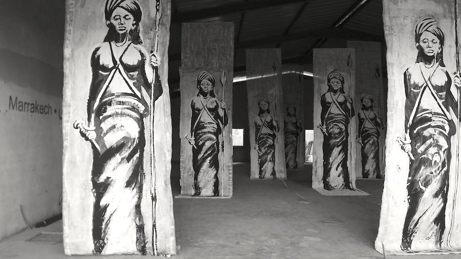 "Kouka Ntadi les ""Guerriers Bantu"", Installation in situ"