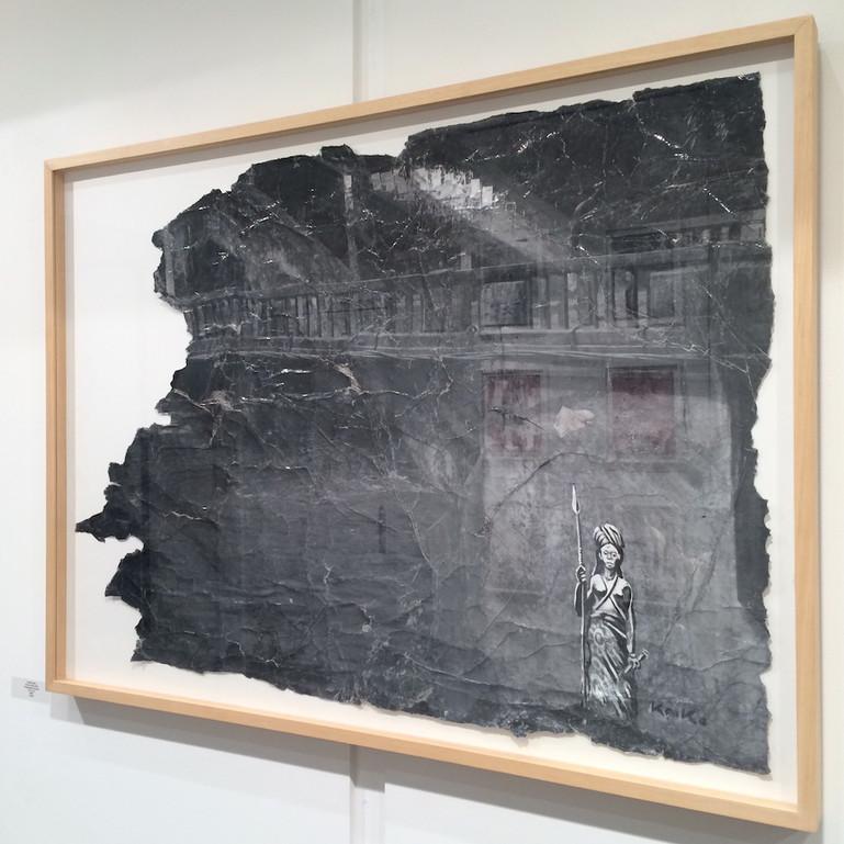 """Kouka Ntadi, """"Pont du Djoué"""" photo réhaussée (techniques mixtes sur papier)"""