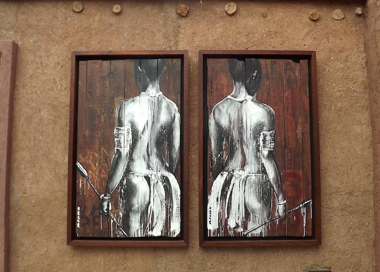 """Kouka Ntadi """"Guerriers bantu"""" Peinture sur bois """"Palissades"""""""