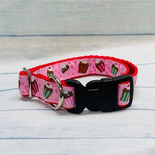 """3/4"""" Pink Cupcake Clip Pet Collar"""