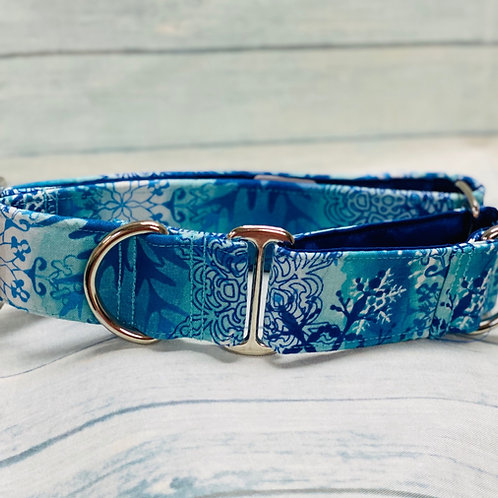 "Crazy Beautiful 1.5"" Blue Snowflake Martingale Pet Collar"