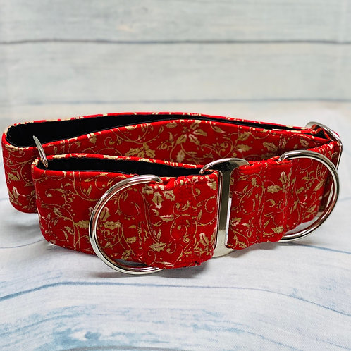 """2"""" Gold Hollyberry Martingale Pet Collar"""