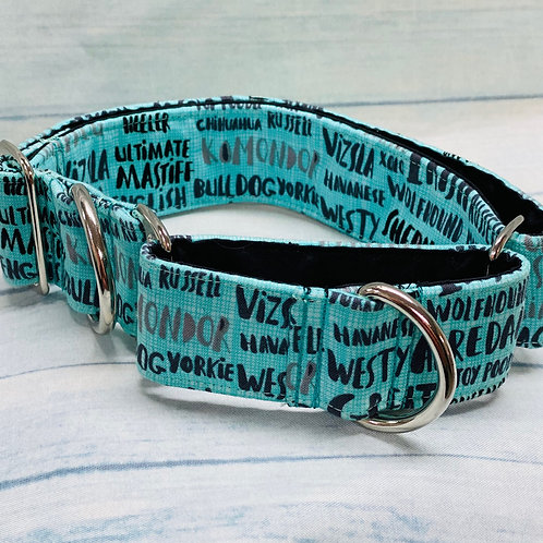"1.5"" Dog Breed Names Martingale Pet Collar"