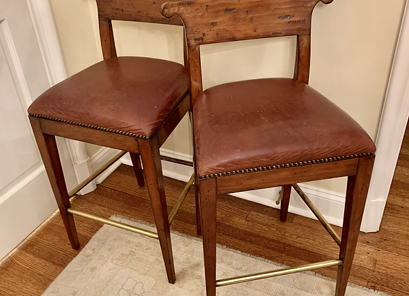 PAIR OF LEATHER AND WALNUT BARSTOOLS