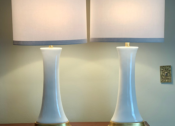 PAIR OF WHITE & GOLD TABLE LAMPS