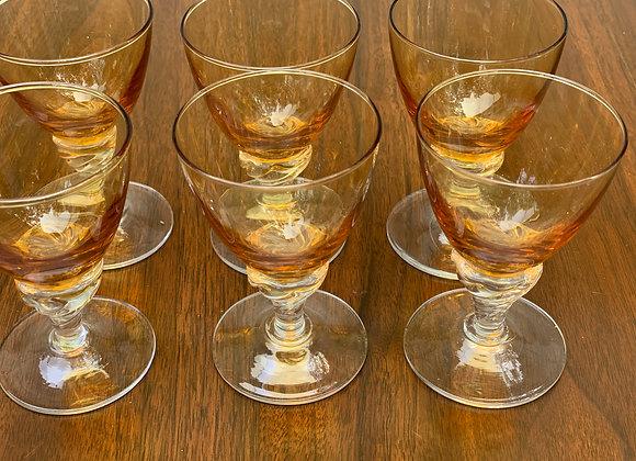 SET OF 6 AMBER APERITIF GLASSES