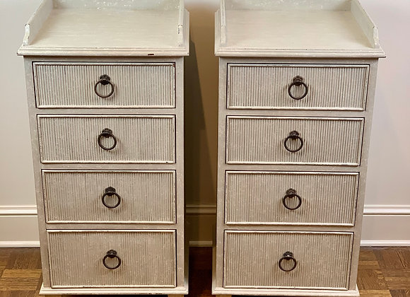 PAIR OF GUSTAVIAN REEDED BEDSIDE TABLES