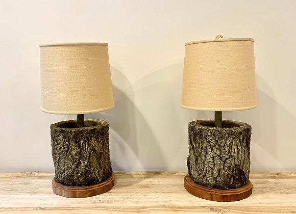 PAIR OF FAUX BOIS LAMPS