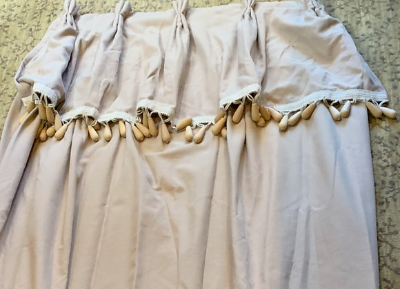 LINEN SHOWER CURTAIN WITH VALANCE AND TASSLE FRINGE