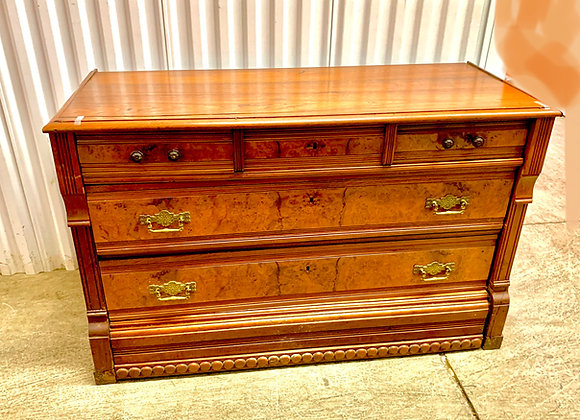 ANTIQUE BURLWOOD CHEST OF DRAWERS