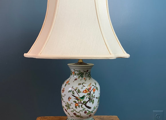 CHINOISERIE LAMP WITH SILK SHADE