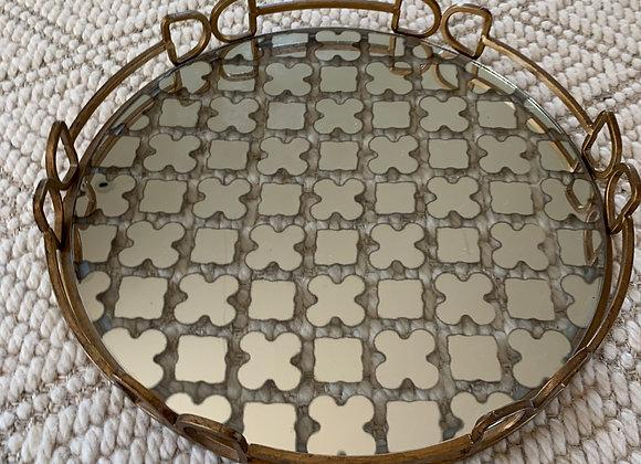 Quatrefoil mirrored glass tray