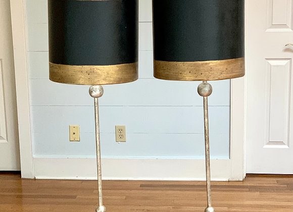 PAIR OF BLACK & GOLD LAMPS