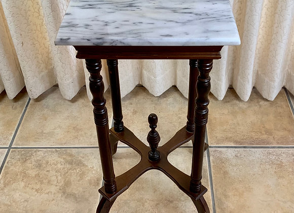 WOOD & MARBLE SIDE TABLE