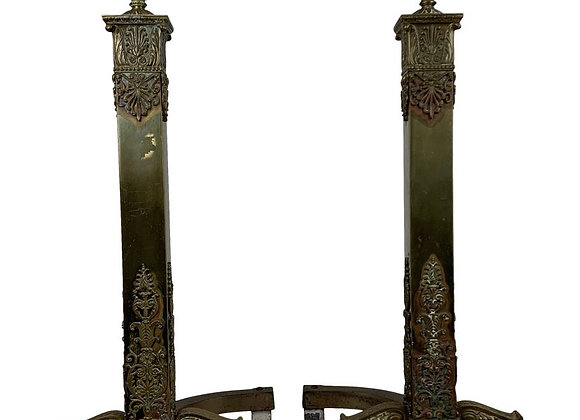 FRENCH NEOCLASSICAL BRONZE ANDIRONS