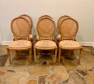 SET OF 6 FAUX BOIS CANE BACK CHAIRS