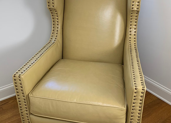 NAILHEAD STUDDED FAUX LEATHER WING CHAIR