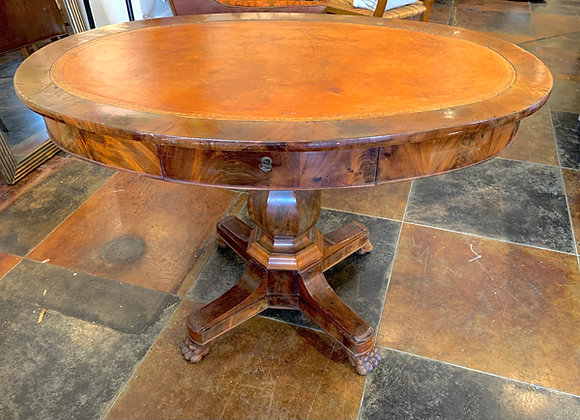 OVAL LEATHER TOP DRUM table