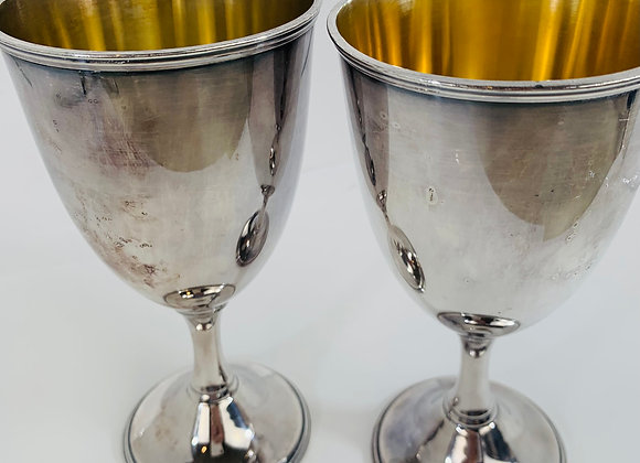 4 SILVER PLATE GOBLETS